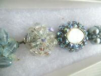 Ice Blue Crystal Rhinestone AB Hand Made Bracelet  Made From Vintage Earrings