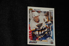 HOF ADAM OATES 1991-92 UPPER DECK SIGNED AUTOGRAPHED CARD #252 BLUES
