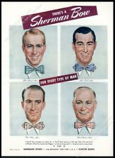 1946 Sherman Bow Tie 4 men art vintage print ad
