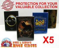 5x DVD MOVIE - OVERSIZED B - CLEAR PROTECTIVE BOX PROTECTOR CASE SLEEVE