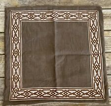 """Lacefield Designs Linen Embroidered Trim Pillow Cover 20"""" Beige Lattice"""