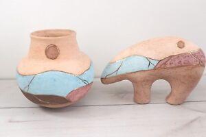 Lot 2 Navajo Guardian Bear Figurine Bowl Art Pottery Southwestern Artist Marked