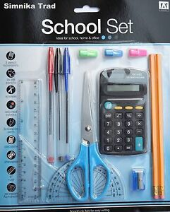 14 Piece School Stationary Set Pens Ruler HB Pencil Calculator (Full School Set)