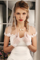 White Ivory Small Pearls Wedding Bridal Veil Shoulder Length Lace Edge 1 Layer