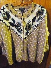 Woman's Designs & Co Lane Bryant Zipper Cardigan Earth Tones Sweater Size 18/20