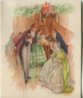 VINTAGE CHRISTMAS GLITTER VICTORIAN HOUSE PARTY GIRL PIANO GREETING & SANTA CARD