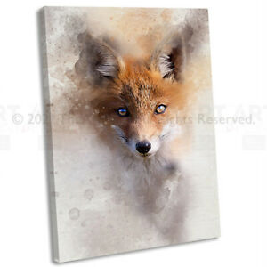 Fox Canvas Print Framed Animal Watercolour Abstract Wall Art Picture