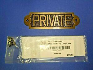 Adonai Hardware PRIVATE Medium Brass Door Sign Antique Brass (loC-4)