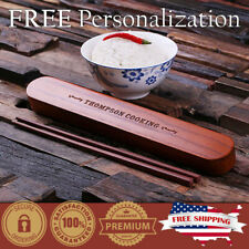 PERSONALIZED Engraved Chopsticks in Custom Bamboo Wood Case Unique Xmas Gift