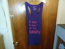 "No Boundaries Size XL (15-17) "" I RUN TO BURN OFF THE CRAZY "" Purple Tank Top"