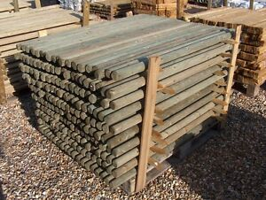 10 PACK 1.8m x 50mm round pressure treated fence posts stakes Wood Garden Field