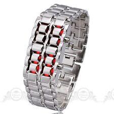 New Volcanic Lava Iron Metal Faceless Bracelet Fashion Red LED Metal Wrist Watch