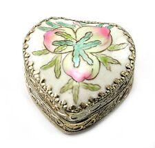 Vintage Chinese Shard Box Tibetan Silver Porcelain Inlay Jewelry Mirror Peach