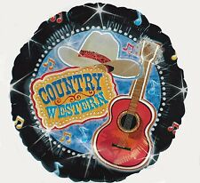 """18"""" Country Western Guitar Music Cowboy Hat Nashville  Party Mylar Balloon"""