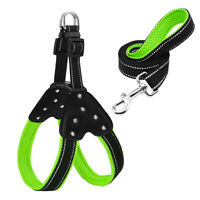 Reflective Nylon Rhinestone Dog Harness+ Leash Set SML Mesh Padded Pet Walking r