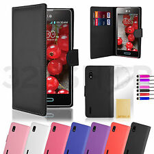 NEW WALLET PU LEATHER CASE COVER FOR LG Optimus  Various Phone SCREEN PROTECTOR