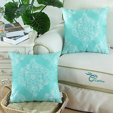 Set of 2 Cushion Covers Pillows Shells Vintage Turquoise Color Floral Print 45cm