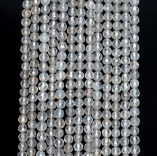 4MM  AGATE GEMSTONE GREY FACETED ROUND LOOSE BEADS 15""