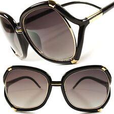 Designer Fashion Stylish Vintage Retro Oversized Black Womens Sunglasses D44A