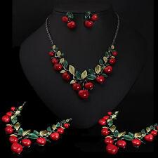 New Earrings Set Pendant Necklace Alloy Vintage Cherry fruit Bridal  Jewelry