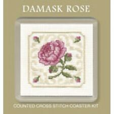 Damask Rose Coaster - Counted Cross Stitch Kit by Textile Heritage