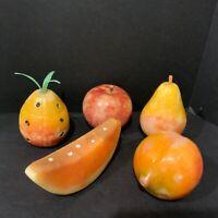 5 Vintage Stone Alabaster Marble Fruit Pineapple Apple Watermelon Peach Pear