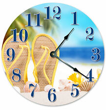SANDALS IN THE SAND CLOCK Large 10.5 inch Wall Clock FLIP FLOPS ON BEACH - 2039