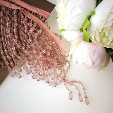 80cm Beautiful Beaded  Trim  For Lampshade.  Dusty Pink 170mm