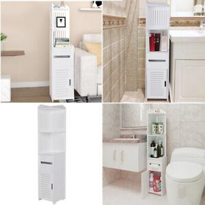 Modern Wooden Bathroom Cabinet Shelf Cupboard Storage Toilet Unit Free Standing