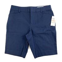 Charter Club Women's Petite Bermuda Chino Shorts Size 2 Blue Stretch Low Rise