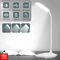 Dimmable LED Desk Light Touch Sensor Table Bedside Reading Lamp USB Rechargeable