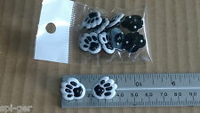 10x Plastic Animal Dog Paw Print Black & White Shanked Buttons Sewing Craft