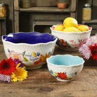 Colorful Country 3-Piece Serving Bowl Set Salad Mixing Kitchen Pioneer Woman