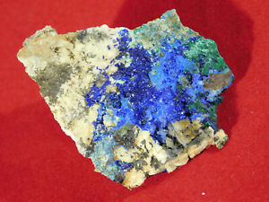 A 100% Natural Blue AZURITE Cluster with Green Malachite! From Morocco 45.7gr