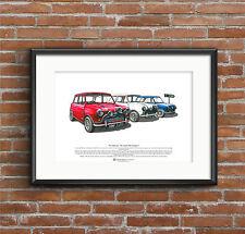 La Italian Job-Austin Mini Cooper S Mk1 Arte Cartel Tamaño A3
