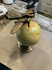 World Globe - 20CM Round With Brass Base And Airplane Feature