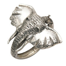 Sterling Silver Large Elephant Head with Tusks Hinged Bangle