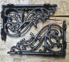 2 Cast Iron Antique Style SM Fat IVY SCROLL Brackets Garden Braces Shelf Bracket For Sale