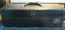 Vintage Genuine John Deere Black Metal Tool Box *Heavy Duty 12lbs