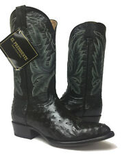 Mens Black Genuine Ostrich Skin Leather Cowboy Rodeo Western Boots Size 7.5