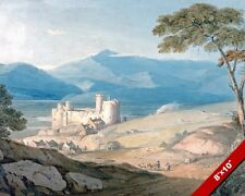 MIDIEVAL HARLECH CASTLE & SNOWDON WALES PAINTING ART REAL CANVAS GICLEE PRINT