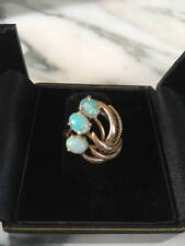 14K Gold Deco Fiery Opal Ring, Midcentury Modern, Ornate, Brushed Gold, Size 6