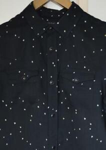 BNWT Mens All Saints Orion Long Sleeve Shirt Size S Black/Chalk £95