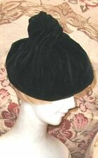1950s French,Paris Label,Swirling Cone of Black Velvet Beret Gilbert Orcel Paris