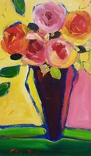 Natasha Barnes Art  Original hard to find $1000 17 x 10 24k gold Floral Blue