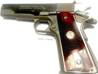 """1911 GRIPS, SALE $45.73, FITS COLT FULL SIZE,SILVER """" RAMPANT HORSE """" MEDALLIONS"""