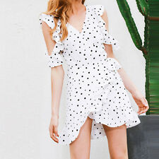 Sexy Summer Women V-Neck Polka Dot Mini Dress Cold Shoulder Ruffles Wrap Dresses