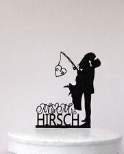 Fishing Wedding Cake Topper - Bride & Broom with initials and last name