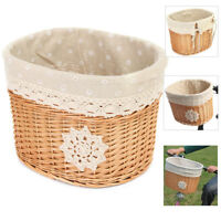 Wicker Bicycle Cycle Bike Front Basket Handlebar For Pet Shopping Camping Fruit