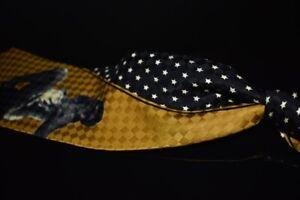 Vintage Dolce & Gabbana Black Gold Stars Harlequin Pinup Girl Jacquard Silk Tie
